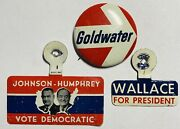 President Campaign Button Political Wallace Goldwater Johnson Humphrey Patriotic