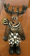 My Own Hp Moose Figurine - Business Card Sign Holder - Black And White Check