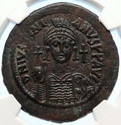 Justinian I The Great 541ad Follis Authentic Ancient Byzantine Coin Ngc I95653