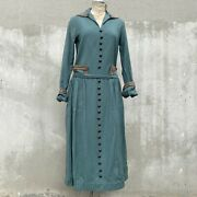 Antique 1920s Teal Blue Wool Dress Gold Bullion Embroidery Brass Button Vintage