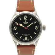 Auth Tudor 79910 Automatic Heritage Ranger Wrist Watch Black Ss/leather 0072