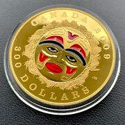 2009 Four Seasons Canada Gold 300 14kt Coin - Red Enamel Summer Moon Mask