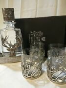 A E Williams Pewter Stag Whiskey Decanter With 4 Glasses J