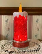 Beautiful Red Glitter Floating Candle With Flickering Light Bulb - New S