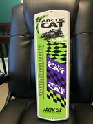 Vintage Antique Arctic Cat Snowmobile Tin Non Porcelain Thermometer Sign Used
