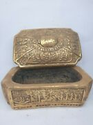 Antique Ancient Egyptian Gold Jewelry Box Scarab Goddess Isis Eye Of Horus