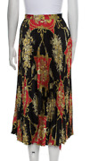 2019 Spring-summer Black Red And Gold Marmont Gg Silk Pleated Skirt Xs 2