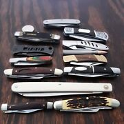Pocket Knife Lot Of 13 Knives Mixed Assorted Used Sog Ruko Schrade