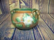 Vintage Roseville Usa Pottery Small Floral Embossed Bowl/vase With Handles