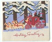 Vintage Christmas Colonial Red Horse Carriage Woods Winter Snow Woodblock Print