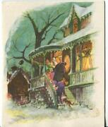 1 Vintage Christmas Snow Victorian Green House Collie Greeting And 1 Santa Card