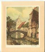 Vintage Christmas French Village Row House River Pier Emile Dupre Greeting Card