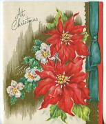 Vintage Christmas Poinsetta Hellebores Flowers Embossed Gold Greeting Card Flaws