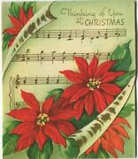 Vintage Christmas Gold Music Notes Red Poinsettias Embossed Mcm Greeting Card