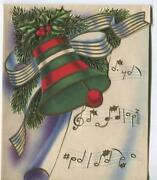 Vintage Christmas Mid Century Art Nouveau Pine Holly Berries Bell Greeting Card