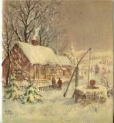 Vintage Christmas Farm House Rustic Country Water Well Snow Dusk Greeting Card