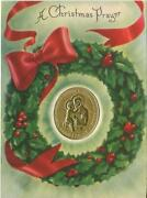 Vintage Christmas Saint Anthony Holds Christ Child Holly Wreath Greeting Card