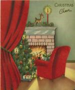 Vintage Christmas Tree Ornaments Red Chair Curtains Fawn Fireplace Flocked Card