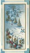 Vintage Christmas Blue Colors Church Blue Bird Whit Snow Mail Box Embossed Card