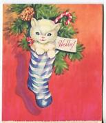 Vintage Christmas White Cat Kitten Stocking Pine Cone Candy Cane Greeting Card