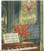 Vintage Christmas Silent Night Church Tree Stained Glass Window Piano Plant Card