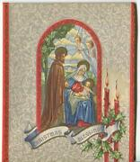 Vintage Christmas Madonna Christ Stained Glass Window Angels Holly Greeting Card