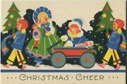 Antique 1920and039s Christmas Art Deco Children Trees Doll Lithograph Greeting Card