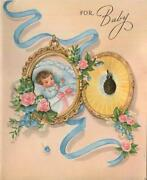 Vintage Catholic Infant Baby Faux Locket Roses Virgin Mary's Medal Greeting Card