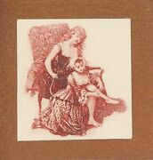 Antique Victorian Maid Helping Woman With Stockings Miniature Tiny Art Print