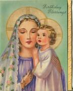 Vintage Virgin Mary Christ Child Roses Veil Blue Gold Rosary Beads Greeting Card