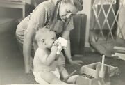 Grandma Baby Toys Diaper Chubby 1940's Photograph Picture Antique