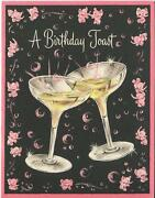 Vintage Art Deco Champagne Glasses Toast Pink Elephant Bubbles Greeting Hb Card