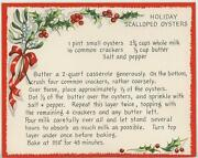 Vintage Christmas Scalloped Oyster Recipe 1 Sheep Snow Horse Sleigh Tree Card