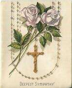 Vintage White Gray Garden Roses Jesus Christ Rosary Beads Crucifix Sorrows Card