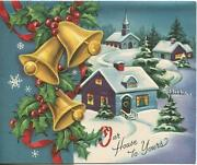 Vintage Christmas Gold Bell Holly Berry House Church Snow Village Snowflake Card