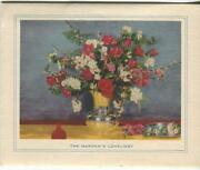 Vintage Shabby Red Roses Chic Pussy Willows Garden Bouquet Vase Card Art Print