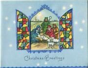 Vintage Christmas Blue Rainbow Colors Stained Glass Window Nativity Christ Card