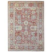 9'x11'10 Red Angora Oushak In A Colorful Palette Hand Knotted Wool Rug R69573