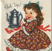 Vintage Country Girl Floral Dress Coffee Pot Perk Up Cheer Greeting Card Print