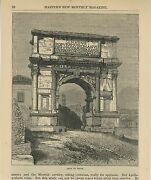 Antique Arch Of Titus Roman Rome Italy Architecture Landscape Small Old Print
