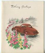 Vintage 1930and039s Coupe Automobile Auto Dog Looking Out Window Church Garden Card