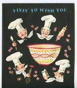 Vintage Chefs Cook Baking Bakers Whisk Rolling Pin Birthday Cake Greeting Card