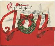 Vintage Christmas Joy Wreath Bethlehem Red Green Colors And B And W Deco Card Print