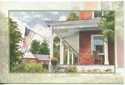Vintage Colonial House Porch Bed And Breakfast Us Flag Garden Greeting Art Card