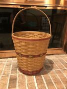Vintage Longaberger 1991 Holiday Hostess Tree Trimming Basket Red And Green Trim