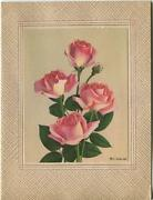 Vintage Pink Shabby Roses Chic Garden Bouquet Flowers Lithograph Picture Card