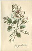 Vintage White Ivory Color Garden Roses Bud Parisian Flair W/ Gold Card Print