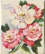 Vintage Old Fashioned Garden Roses White Pink Red Birthday Greeting Card Print