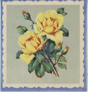 Vintage Yellow Garden Roses Flowers Rose Buds Pretty Card Picture Art Old Print