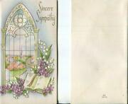 Vintage Church Window Village Lily Of The Valley Violets Embossed Sympathy Card